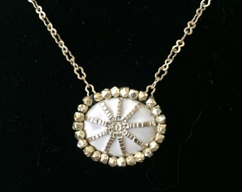 Gold Necklace with Tiny Vintage Chanel Button