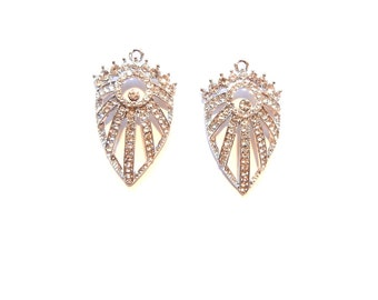Pair of Art Deco Shield Shaped Rhinestone Charms Silver-tone