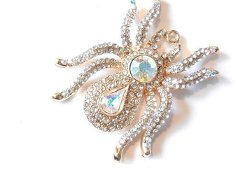 Large Gold-tone Spider Pendant with Clear and Aurora Borealis Rhinestones