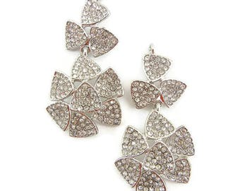 Pair of Rhinestone Encrusted Drop Charms Silver-tone