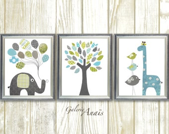 Blue green and gray Nursery art baby nursery decor nursery print Kids art elephant giraffe bird Tree Set of three prints