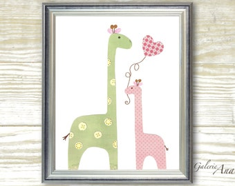Giraffe nursery - I Love You Mommy print Nursery art print nursery decor - baby nursery - kids art - kids room decor - nursery wall art