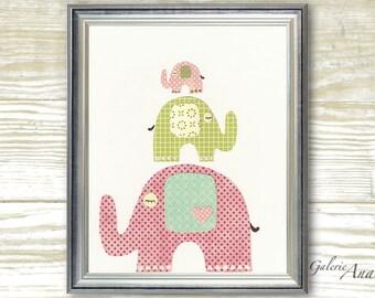 Art for children Baby Girl nursery decor nursery art Kids wall Art nursery wall art elephants nursery kids art - The Trio print