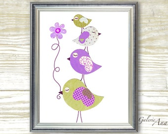 Art for children - nursery art prints - baby nursery decor - kids wall decor - nursery wall art - Purple - Birds - Douceurs print