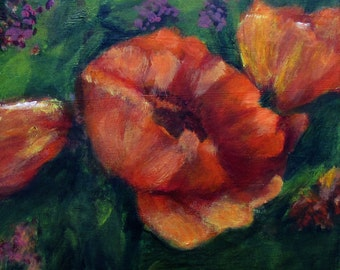 "Wall Art #Painting  #Original  #Flowering Poppy Flowers #Summer Beauties ""Red Green Orange Acrylics"