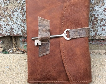 Refillable distressed brown leather journal with skeleton key