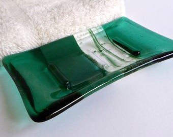 Emerald and Jade Green Fused Glass Soap Dish by BPRDesigns