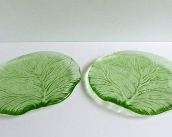 Pair of Leaf Shaped Fused Glass Salad or Dessert Plates by BPRDesigns