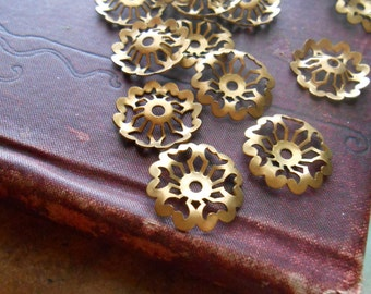 17 vintage brass filigree flower bead cap charms or settings - vintage old new stock jewelry supplies