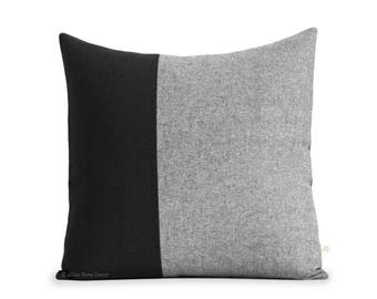 20x20 Black Chambray Colorblock Pillow Cover - Modern Home Decor by JillianReneDecor - Scandinavian Inspired - Black and White Pillows