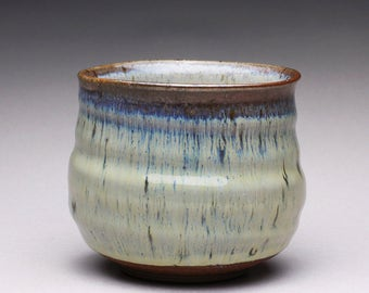 handmade ceramic tea bowl, pottery cup, chawan, teacup with creamy white wood ash glazes