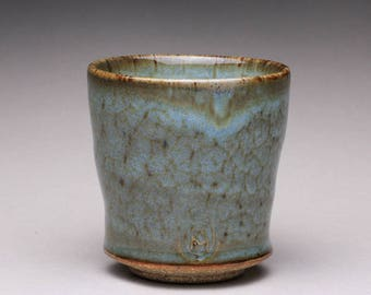 handmade pottery cup, ceramic tea cup, yunomi with light blue glazes