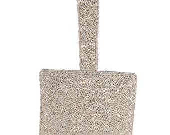 CARLO FELLINI VINTAGE Ivory beaded handbag small purse evening bag