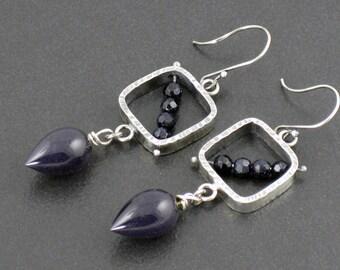 Blue Goldstone Pinned Earrings, blue silver, sterling silver, dangle earrings, goldstone earrings, pinned earrings, silver, michele grady
