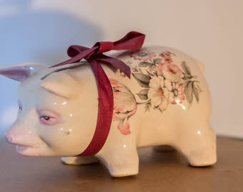 Ceramic Old Fashioned Vintage Piggy Bank Pig Floral Hand Painted