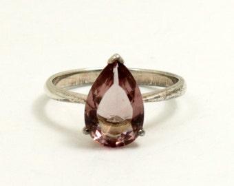 Vintage Pale Pink Crystal Teardrop Ring, 925 Sterling Silver, US Size 7 Half, UK Size O Half