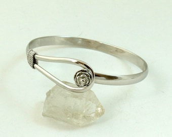 Vintage Sterling Silver Bangle Bracelet, Rose and Loop, 925 Silver