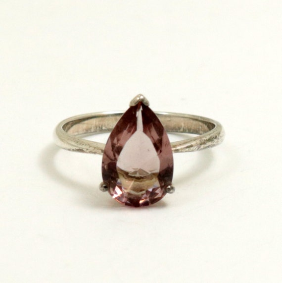 Vintage Pale Pink Crystal Teardrop Ring, 925 Sterling Silver, US Size 7 Half, UK Size O Half