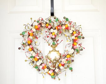 Heart shaped wreath for your home red, pink, cream, yellow Spring Summer decor Kitchen wreath Grapevine heart Valentines Day housewarming
