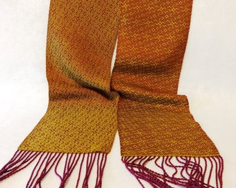 Handwoven Tencel Scarf - Ancient Tilework Inspired Scarf in Gold and Fuchsia, Woven Scarf, Tencel Scarf, Made in the USA - #17-13-B