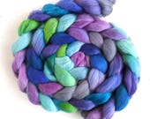Rambouillet Wool Roving - Hand Painted Spinning Or Felting Fiber, Iris Patch