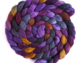 Polwarth/Silk Roving - Handpainted Spinning or Felting Fiber, Black Hollyhocks