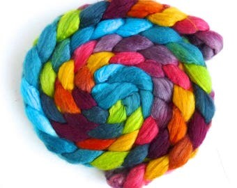 Polwarth/Silk 60/40 Roving - Handpainted Spinning or Felting Fiber, Scottish Landscape