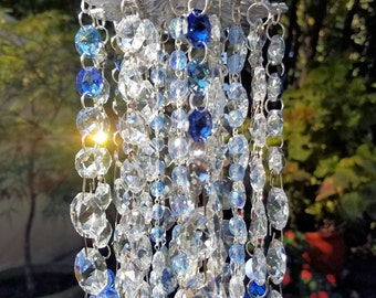 Sapphire Blue Antique Crystal Wind Chime, Baby Blue Crystal Wind Chime, Crystal Sun Catcher, Window Decoration, Garden Decoration