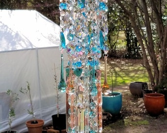 Beach Antique Crystal Wind Chime, Aqua and Peach Crystal Wind Chime, Starfish Crystal Sun Catcher, Garden Decoration, Home Decoration