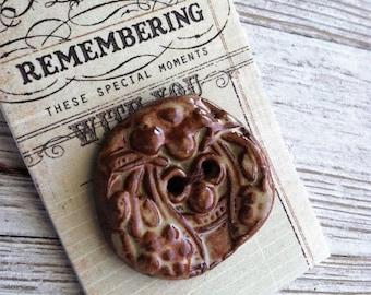 Wondrousstrange Design Gargoyle Grotesque Face Two Hole Moss Green Rust Brown Stoneware Button