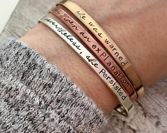 Nevertheless, She Persisted - Bracelet Set - Stacking Cuffs - Mixed Metal - Inspirational Gift for her - Persist Bracelets - Graduation gift