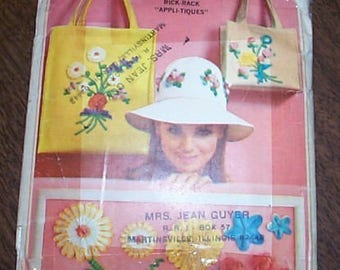 Vintage 60s Hat handbag tote sewing applique Pattern
