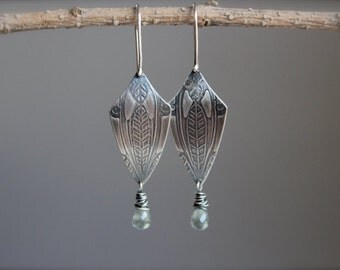 Free US Shipping* Chaparral... sterling silver, moss aquamarine, textured shield earrings