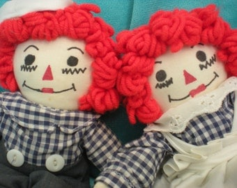 Raggedy Ann Andy Doll Vintage Rag Dolls Set Two Pair Toy Stuffed Hand Sewn Vintage Dolls and Plush