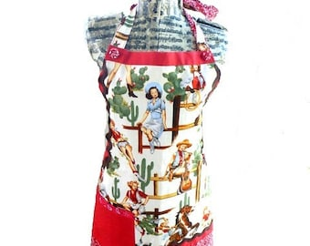 ladies' apron, Pinups apron, western apron, retro rockabilly apron, adjustable full apron, women's apron, washable apron, rockabilly costume