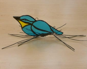 Stained Glass songbird on branches hanging or standing