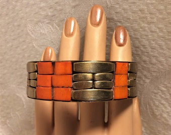 Vintage Brass and Orange Bangle Bracelet with 2 3/4 inch Interior Diameter. Fun and Showy Mosaic Like Bracelet with a Boho Feel to it. (D8)