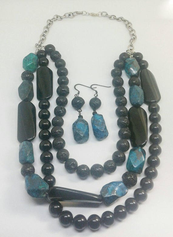 Emmi Item #201734, Handmade Jewelry, Handcrafted necklace and earring set designed with chrysocolla malachite and black onyx.