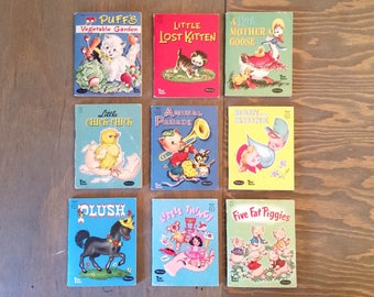 Collection of Nine Vintage Tiny Tales Whitman Books, Small Illustrated Childrens Books 1950's