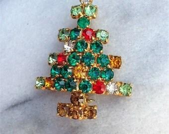 Vintage Rhinestone Brooch Christmas Tree