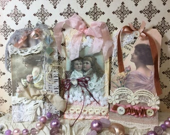 Altered Art Vintage Style All Occasion Gift Tsg Set Of 3