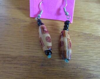 brown wooden pattern dangle earrings