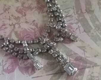 1950's Vintage Rhinestone Necklace - Gift Ideas For Brides - Prom Jewelry - Vintage Bridal Rhinestone Necklace - Vintage Weddings - For Her