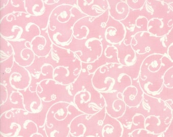 Lily Will Revisited Pink White Scroll fabric   Moda fabric 2808 31   Cotton Quilting fabric
