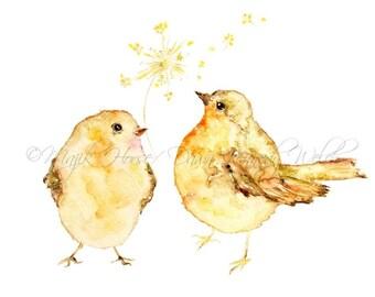 Bird Art, Art Print, Birds, Painting, Watercolor Print, Animal Art, Nursery Art, Dandelion, Wish, Wall Art, Home Decor, Friends, Majik Horse