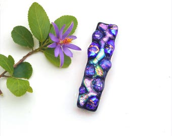 Fused dichroic glass hair barrette, black back, purple, pink, blue