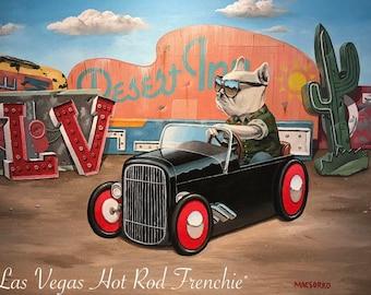 Original Acrylic Painting Bulldog Hot Rod Las Vegas Art