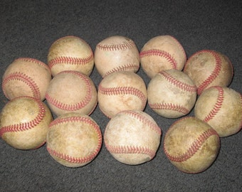 Vintage Baseball Ball Lot Bakers Dozen 13