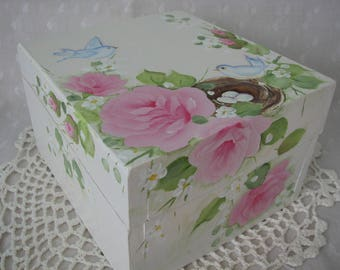 Box Hand Painted Pink Roses Nest Bluebirds Cottage chic home decor Wood Treasure