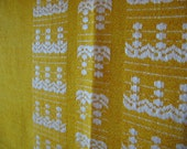 RESERVED for Lettuce and Peas - Vintage Bright Gold and White Woven Tablecloth